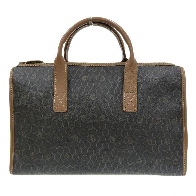 Christian Dior Honeycomb Handbag PVC Leather Dark Gray Brown