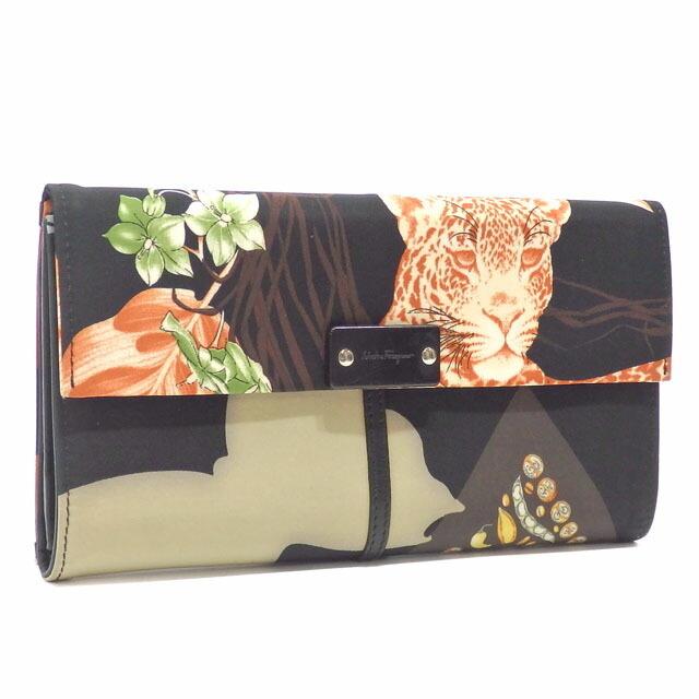 Salvatore Ferragamo Ferragamo Tri-Fold Wallet Ladies Black Multicolor Nylon Jaguar