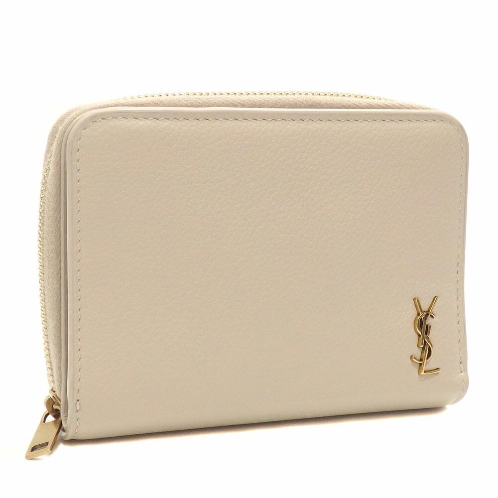 Saint Laurent Bi-Fold Wallet Ladies Beige Leather 635263 Round Logo