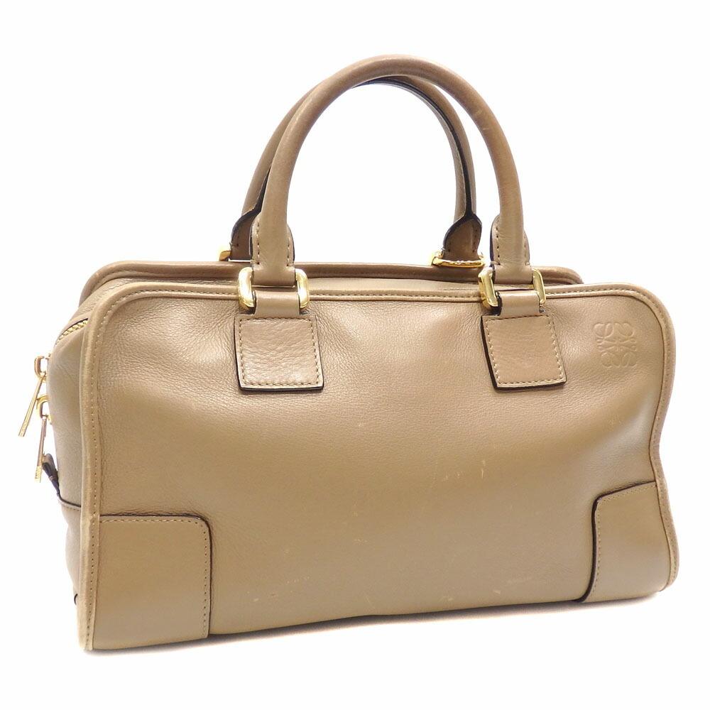 Loewe Handbag Amazona 28 Ladies Beige Leather Boston