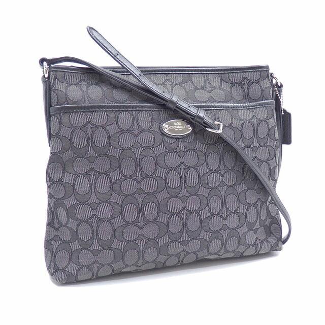 Coach Shoulder Bag Signature Ladies Black Canvas Leather F36182 Outlet
