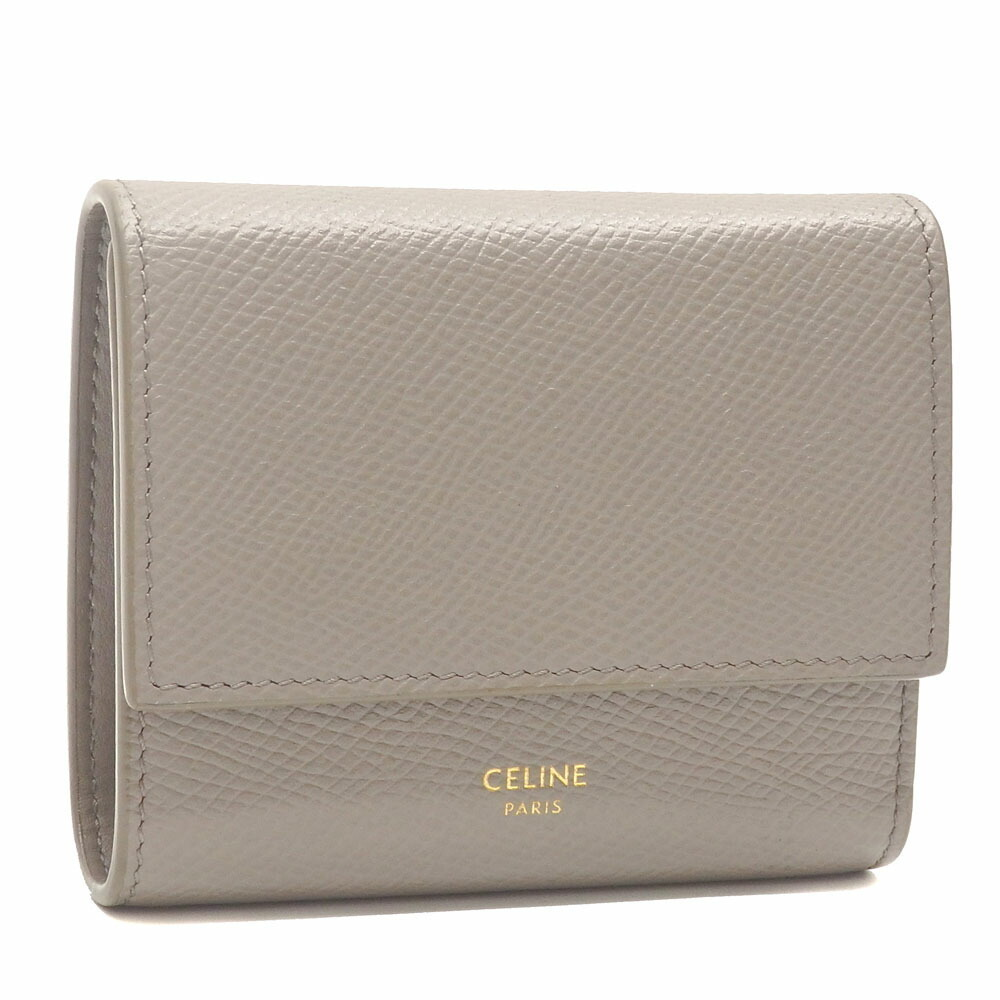 Celine Tri-Fold Wallet Small Trifold Ladies Light Gray Calf Leather 10B573BEL.10BL