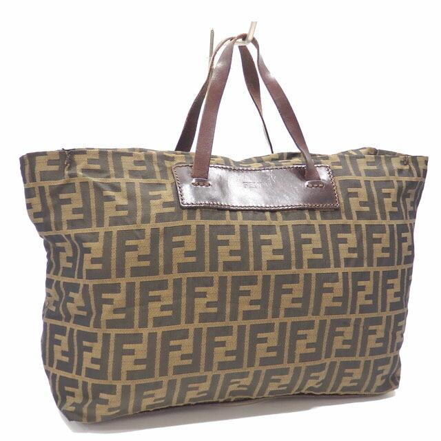 Fendi Handbag Zucca Ladies Khaki Brown Canvas Leather Tote