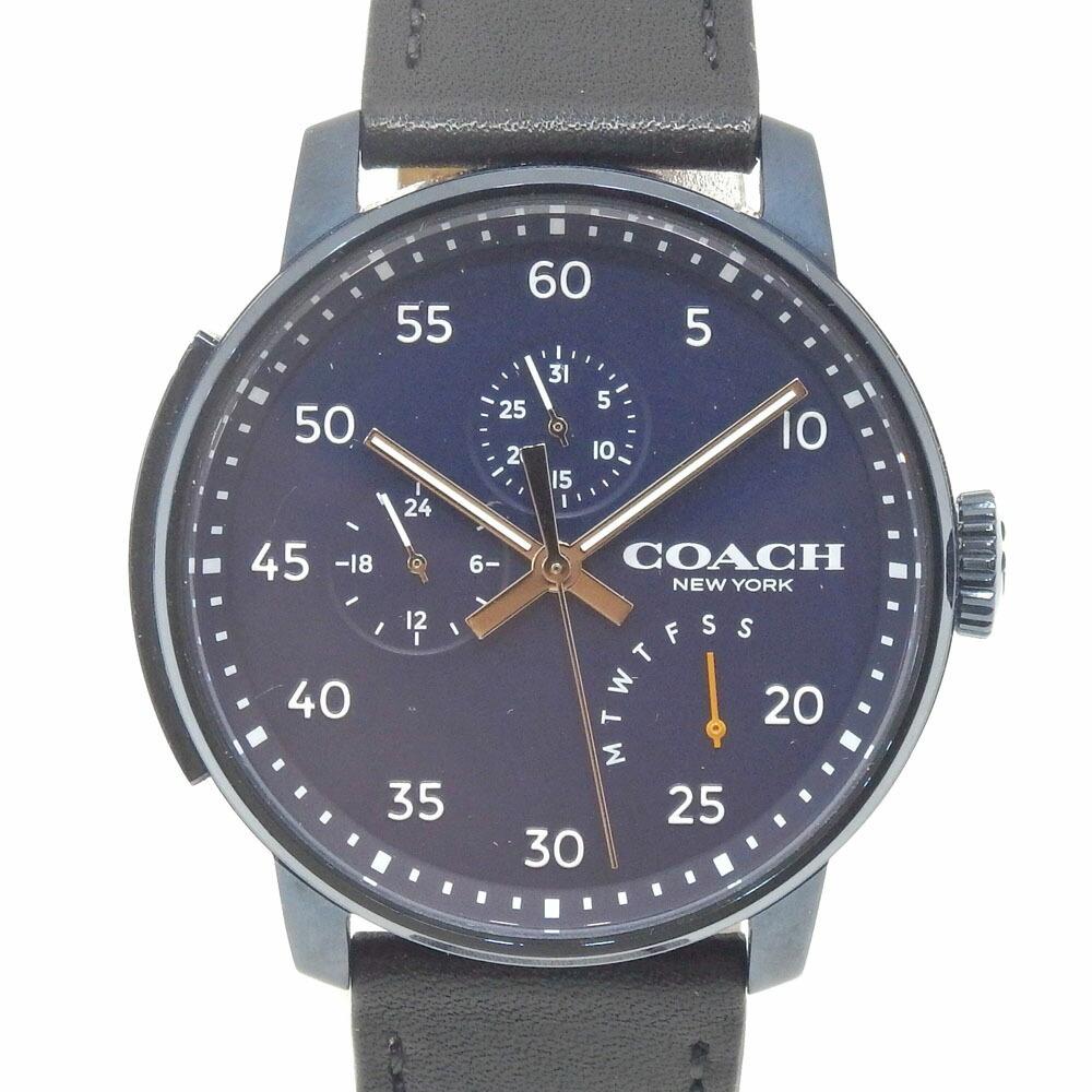 Coach Watch Men's Quartz SS Leather Belt CA.17.2.34.1464 Battery-powered