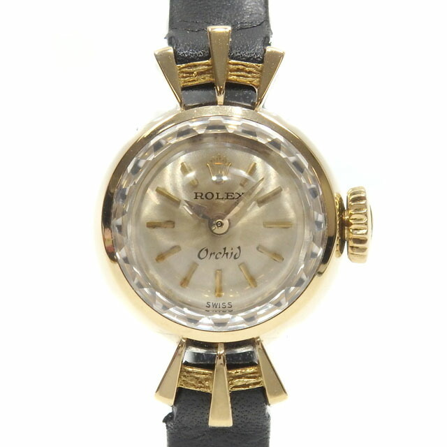 Rolex ROLEX Orchid Ladies 2210 Manual winding K18YG Leather belt watch Mechanical yellow gold 18K 750