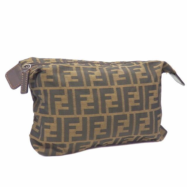 Fendi Pouch Zucca Ladies Khaki Brown Canvas Leather Case Makeup Cosmetics Clutch Second Bag