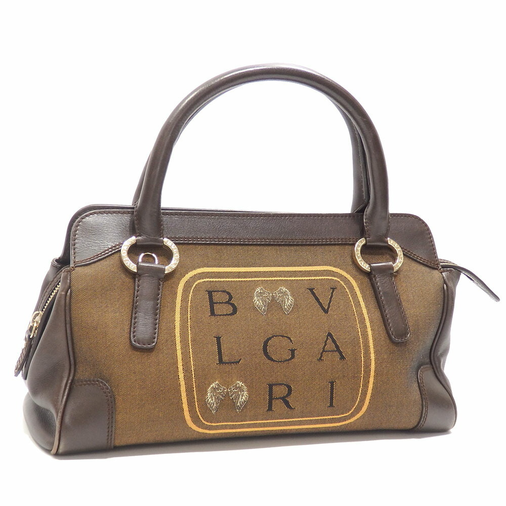 Bvlgari Handbags Womens Brown Leather Canvas