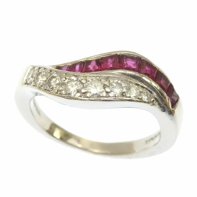 Tiffany Ruby Diamond Ring Ladies Pt 7.5 6.7g Platinum