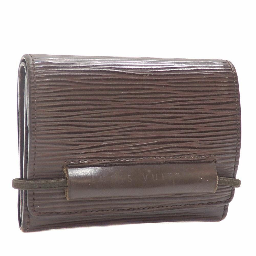 Louis Vuitton Tri-Fold Wallet Epi Portomonet Elastic Ladies M6366D Mocha Brown Mini