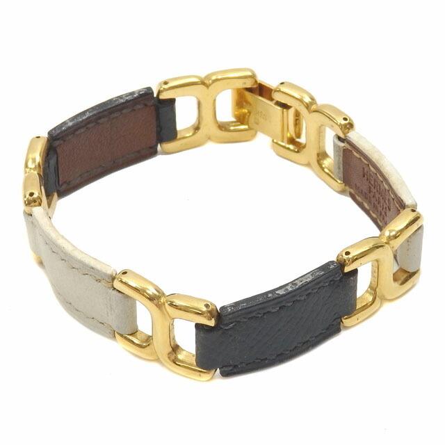 Hermes Design Bracelet Women's Leather Soldo White Navy