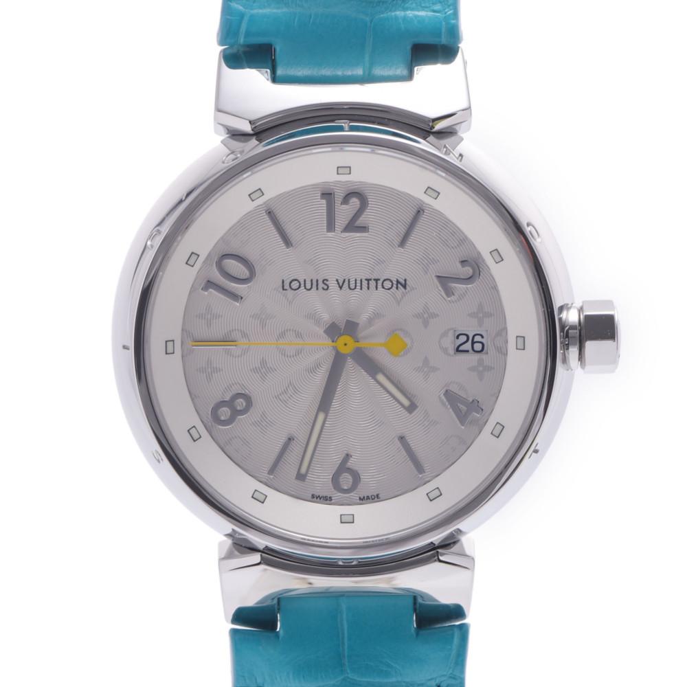 LOUIS VUITTON Louis Vuitton Tambour Hologram Q1313 Ladies Stainless Steel Leather Wrist Watch Quartz Silver Dial