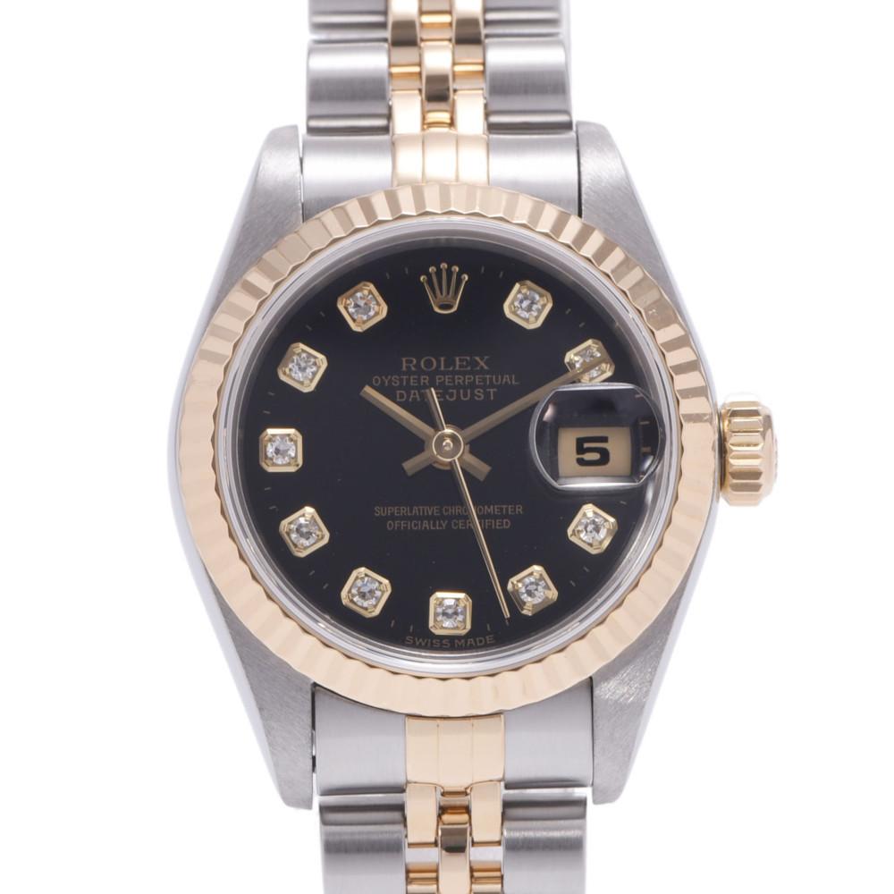 ROLEX Rolex Datejust 10P Diamond 69173G Ladies YG Stainless Steel Wrist Watch Automatic Black Dial