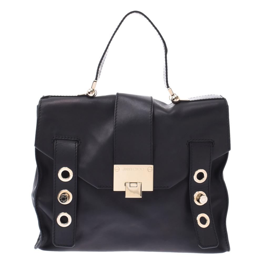 JIMMY CHOO 2WAY black gold metal fittings ladies leather handbag
