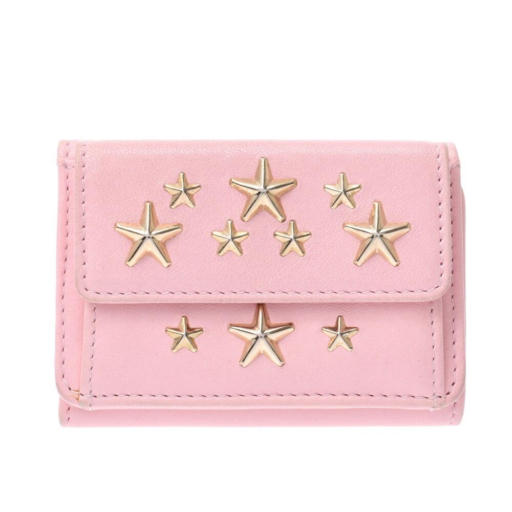 JIMMY CHOO wallet studs pink gold metal fittings ladies leather tri-fold
