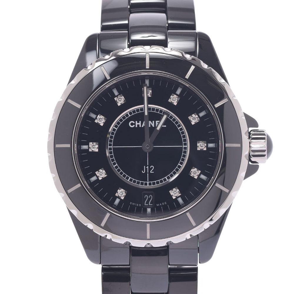 CHANEL J12 38mm 11P Diamond H2124 Boys Black Ceramic Stainless Steel Watch Quartz Dial