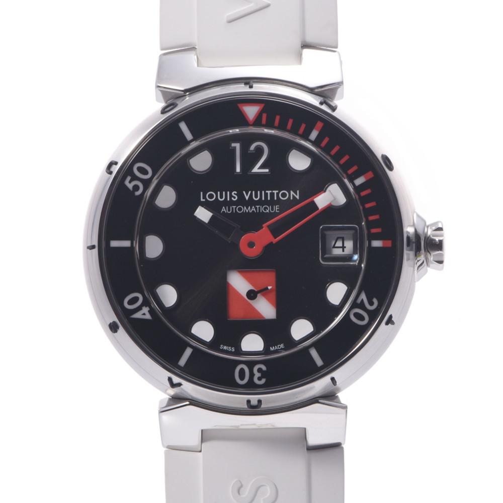 LOUIS VUITTON Louis Vuitton Tambour Diving Q113A Men's Stainless Steel Rubber Wrist Watch Automatic Black Dial