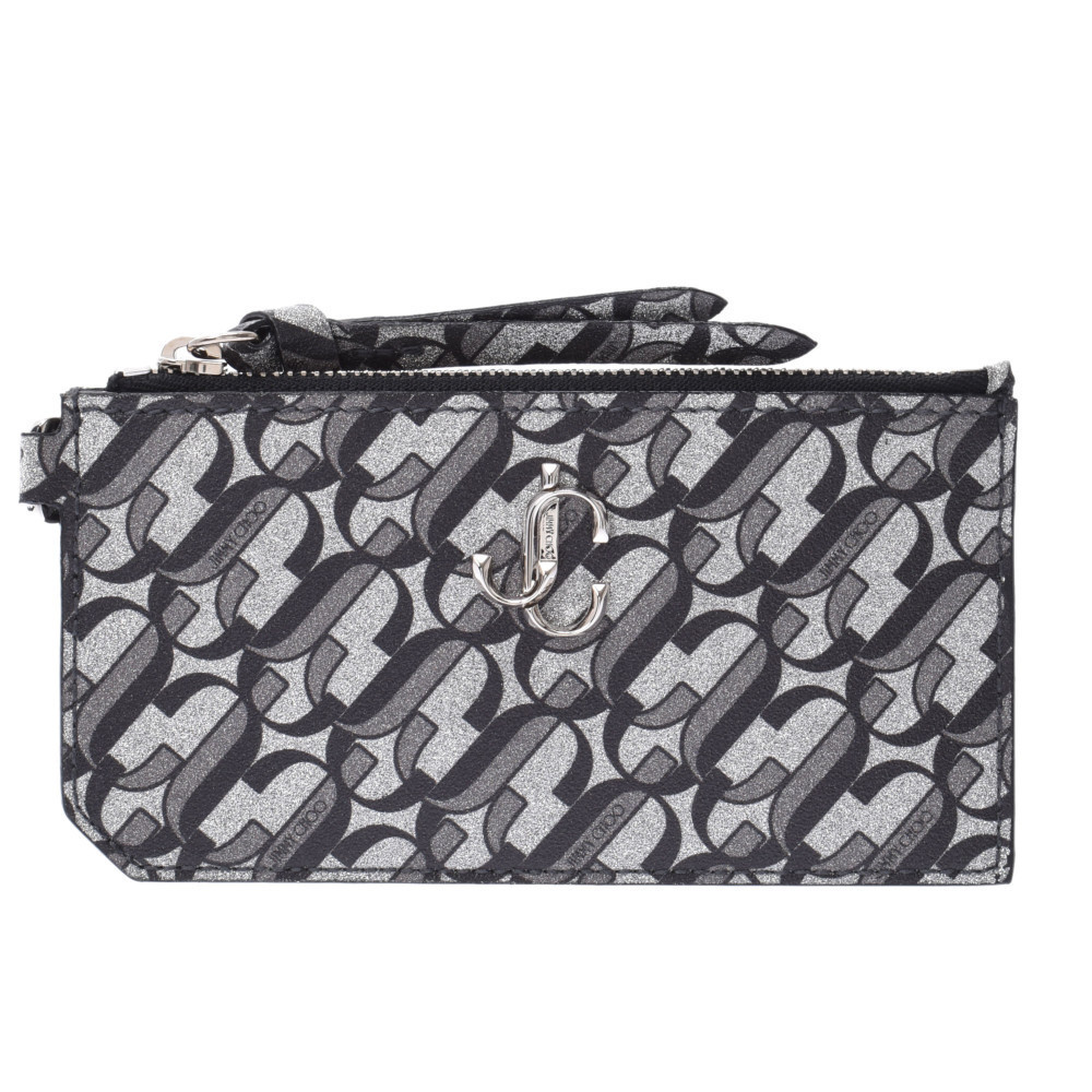 JIMMY CHOO Rise coin purse silver black unisex leather case
