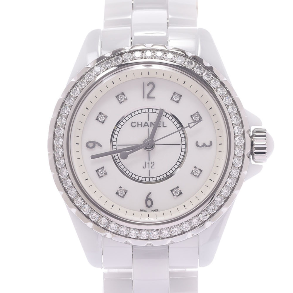 CHANEL J12 33mm Bezel 12P Diamond H3110 Ladies White Ceramic Stainless Steel Watch Quartz Dial
