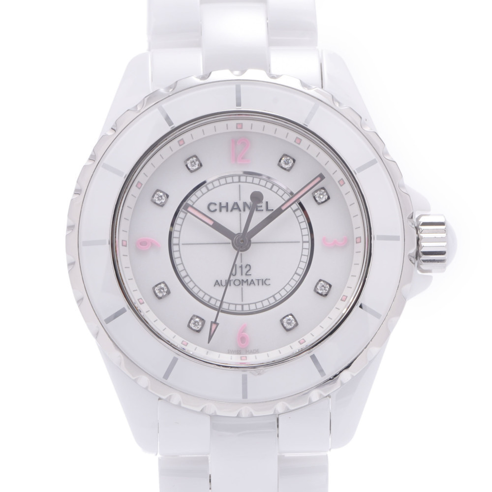 CHANEL J12 38mm Pink Light 8P Diamond World Limited 1200 Pieces Model H4864 Men's White Ceramic Stainless Steel Watch Automatic Dial