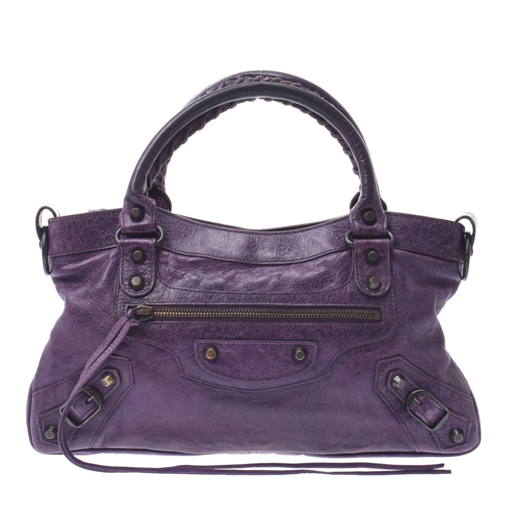 BALENCIAGA The First 2WAY Bag Purple Ladies Calf Handbag