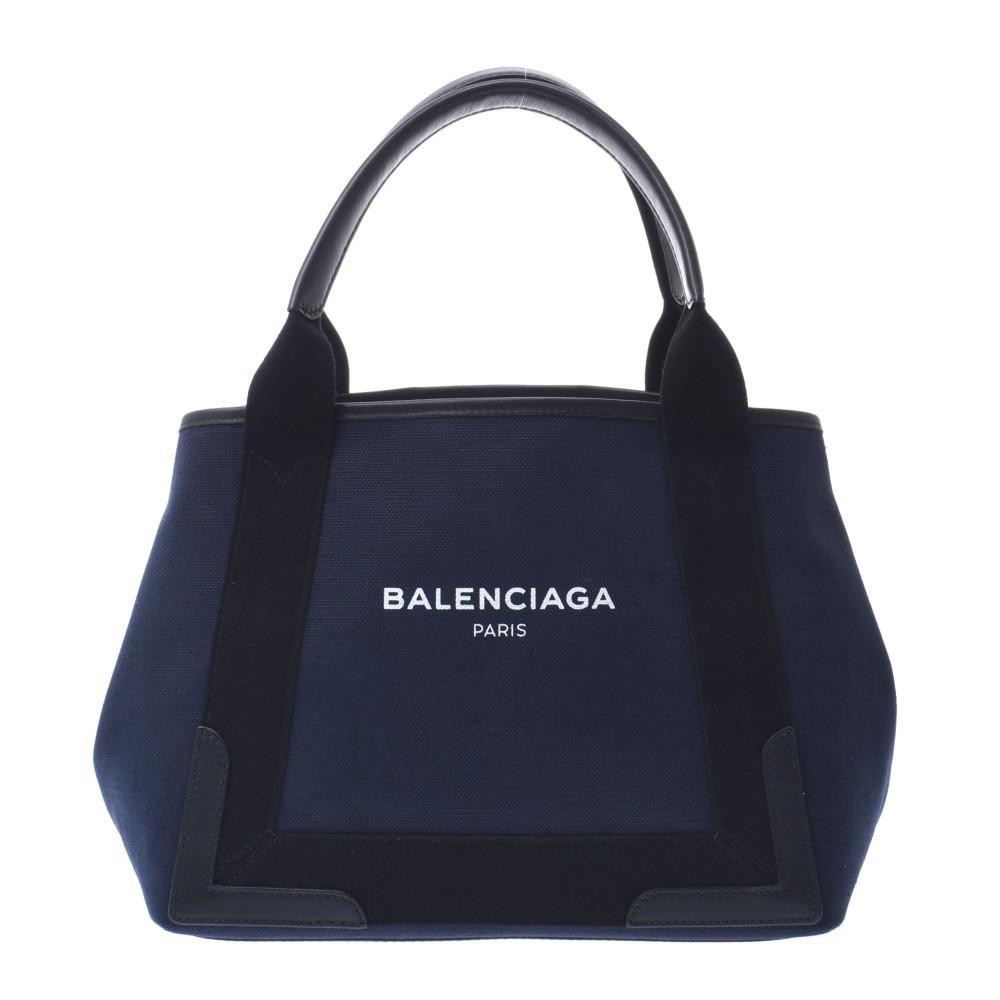 BALENCIAGA Navy Kabas S Black 339933 Ladies Canvas Leather Handbag