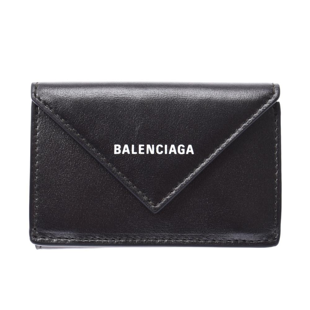 BALENCIAGA Paper Mini Wallet Black Metallic 391446 Ladies Tri-Fold