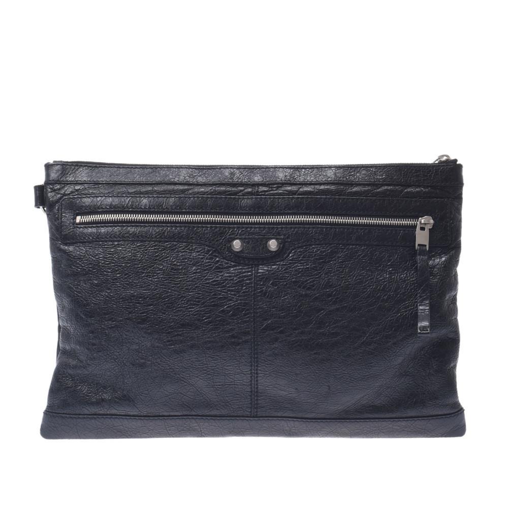 BALENCIAGA Clip L Black 273023 Unisex Calf Clutch Bag