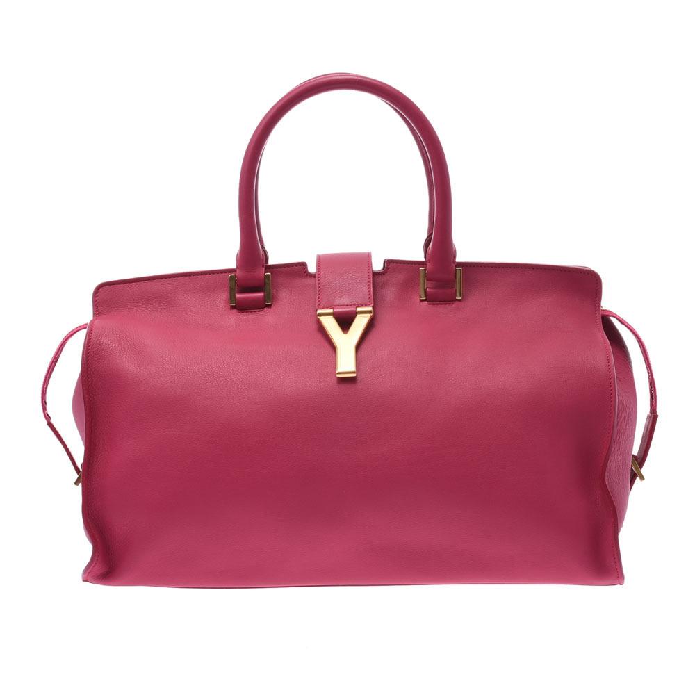 SAINT LAURENT Y line Kabas pink gold metal fittings ladies calf handbag
