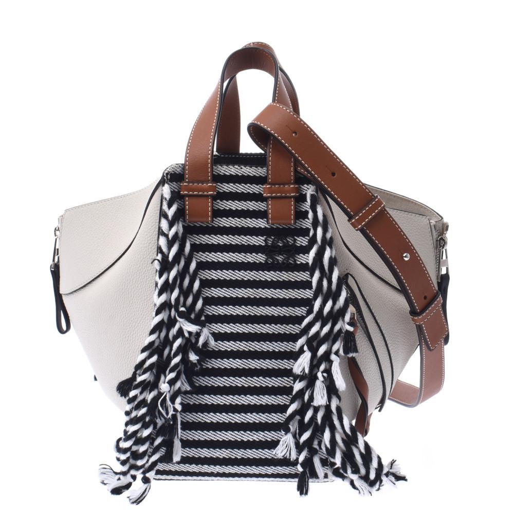 LOEWE Loewe Hammock Medium White Brown Border Ladies Calf Canvas 2WAY Bag