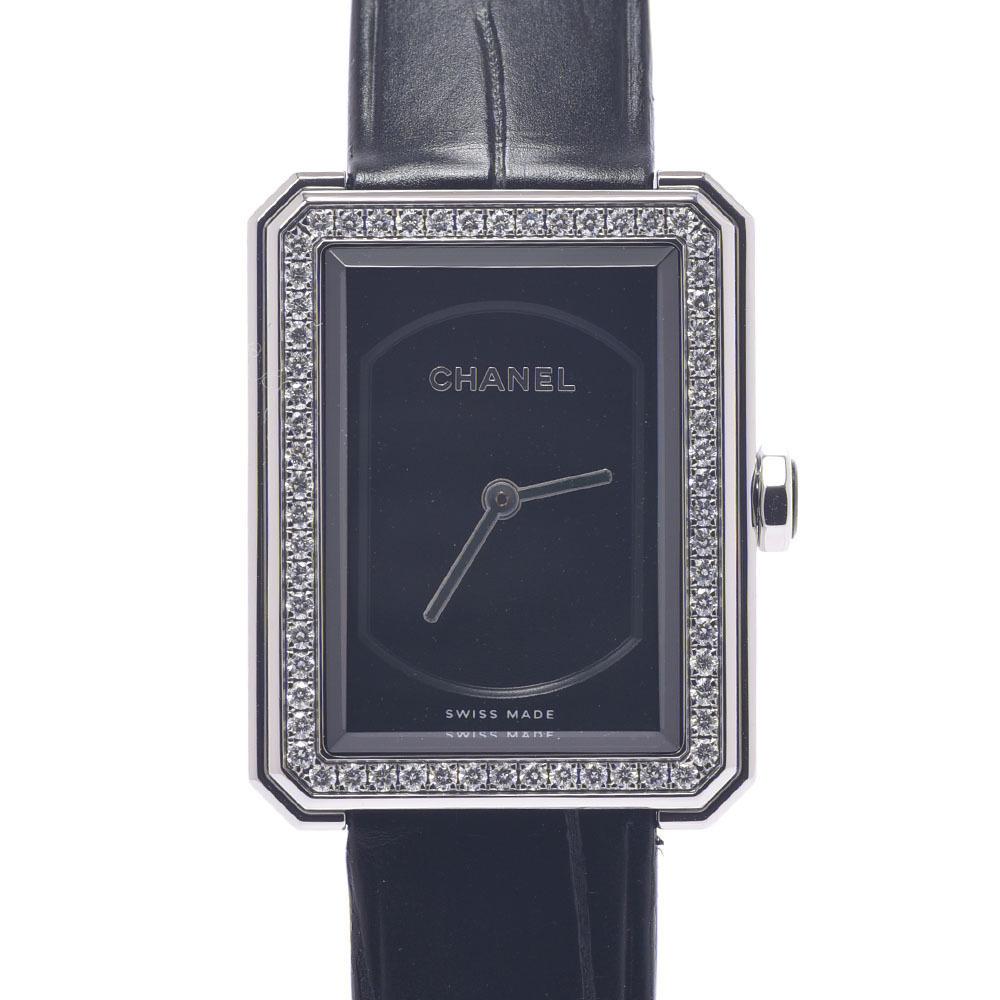 CHANEL Boyfriend Bezel Diamond H4883 Ladies Stainless Steel Leather Watch Quartz Black Dial