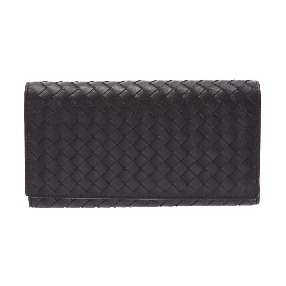 BOTTEGAVENETA Bottega Veneta Intrecciato Bi-Fold Dark Brown P00248341I Unisex Calf Long Wallet