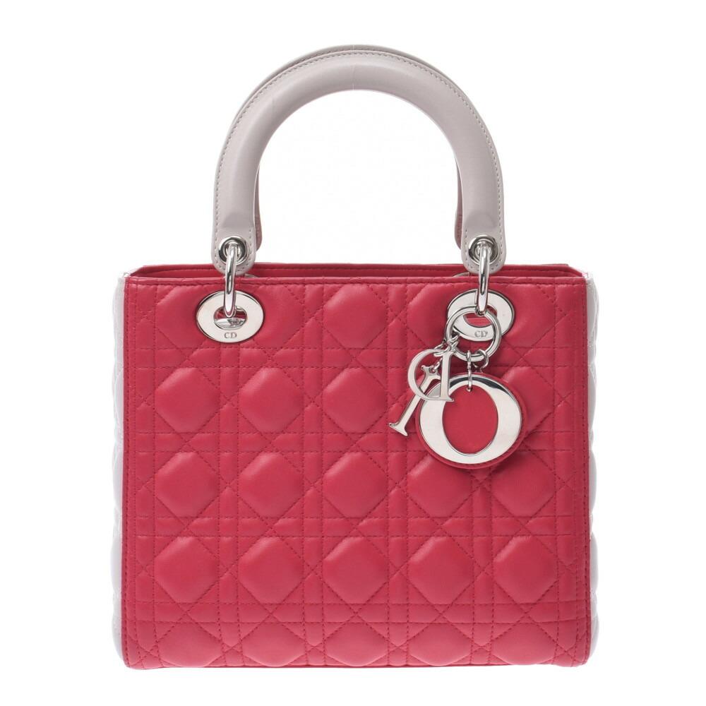Christian Dior Lady 2WAY Bag Bicolor Pink Light Gray Ladies Leather Handbag