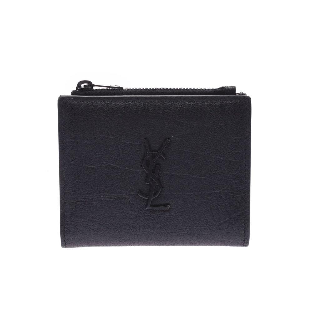 SAINT LAURENT wallet black 529875 unisex leather bi-fold