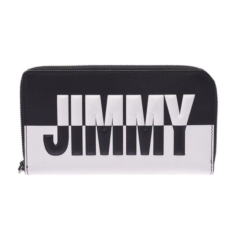 JIMMY CHOO Car Navi-Logo Round Wallet Black White BBM 183 Unisex Calf Bi-Fold