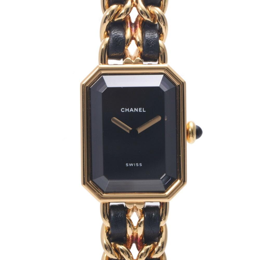 CHANEL Chanel Premiere Size XL Ladies GP Leather Watch Quartz Black Dial