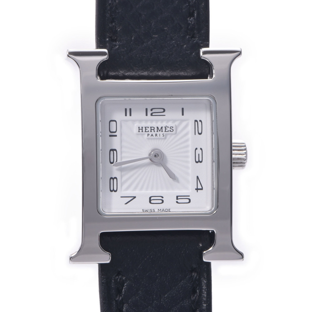 HERMES Hermes H Watch Mini HH1.110 Ladies Stainless Steel Leather Quartz White Dial