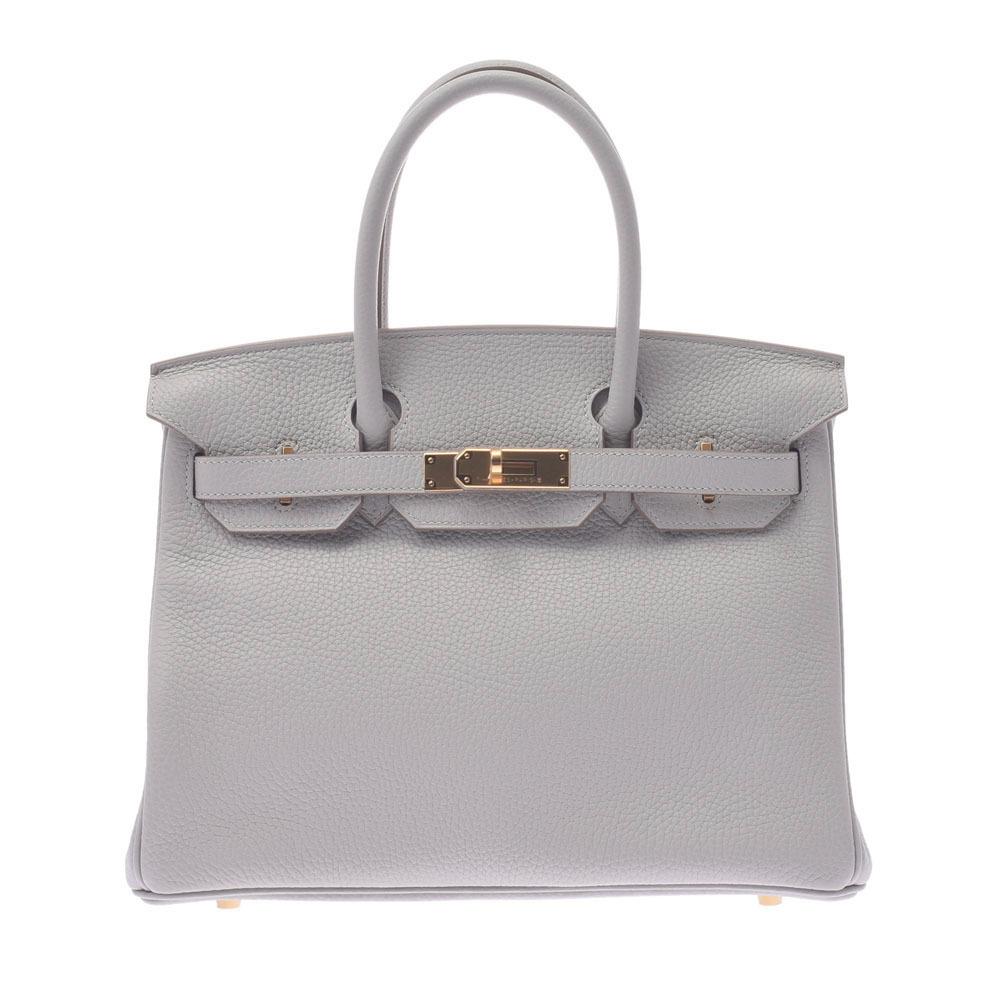 HERMES Hermes Birkin 30 Pearl Gray D Engraved Around 2019 Ladies Taurillon Clemence Handbag