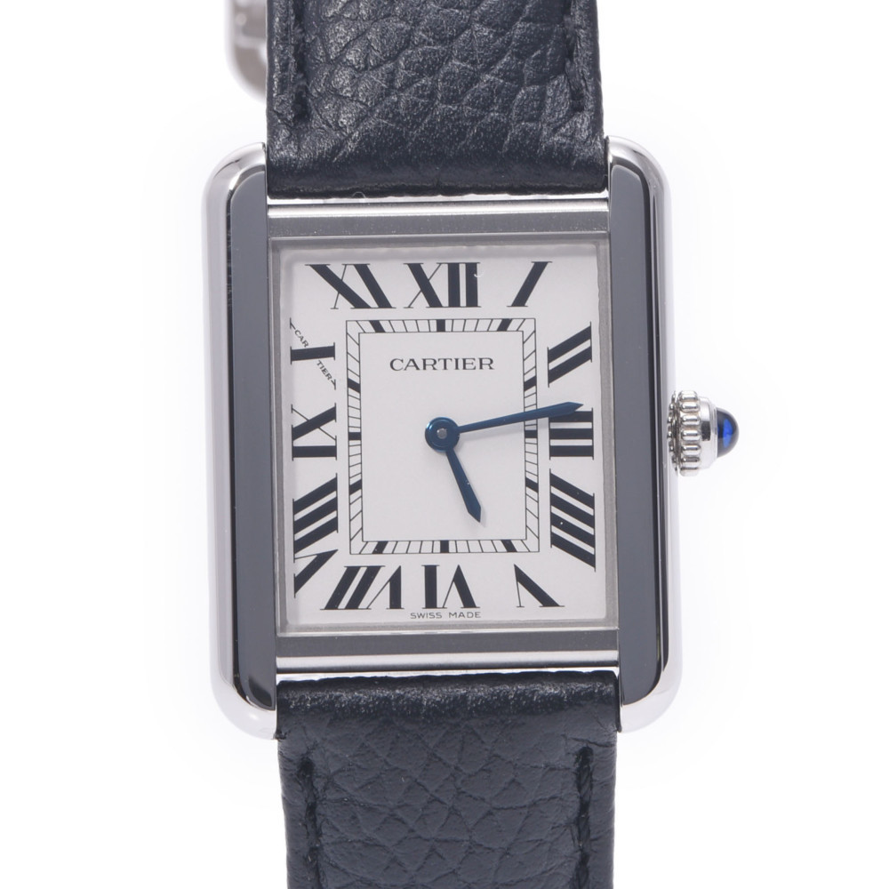 CARTIER Cartier Tank Solo SM WSTA0030 Ladies Stainless Steel Leather Watch Quartz Silver Dial