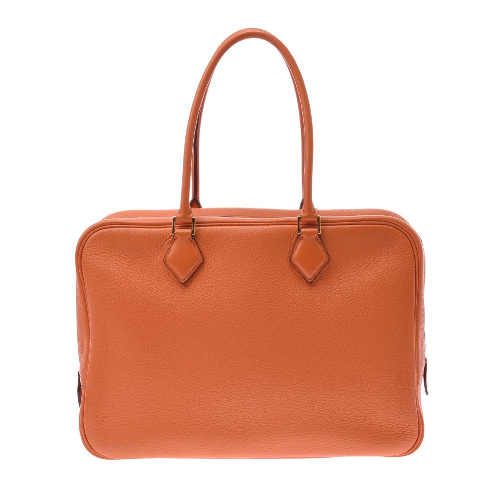 HERMES Hermes Plum 32 orange gold metal fittings □ H engraved around 2004 Ladies Taurillon Clemence handbag
