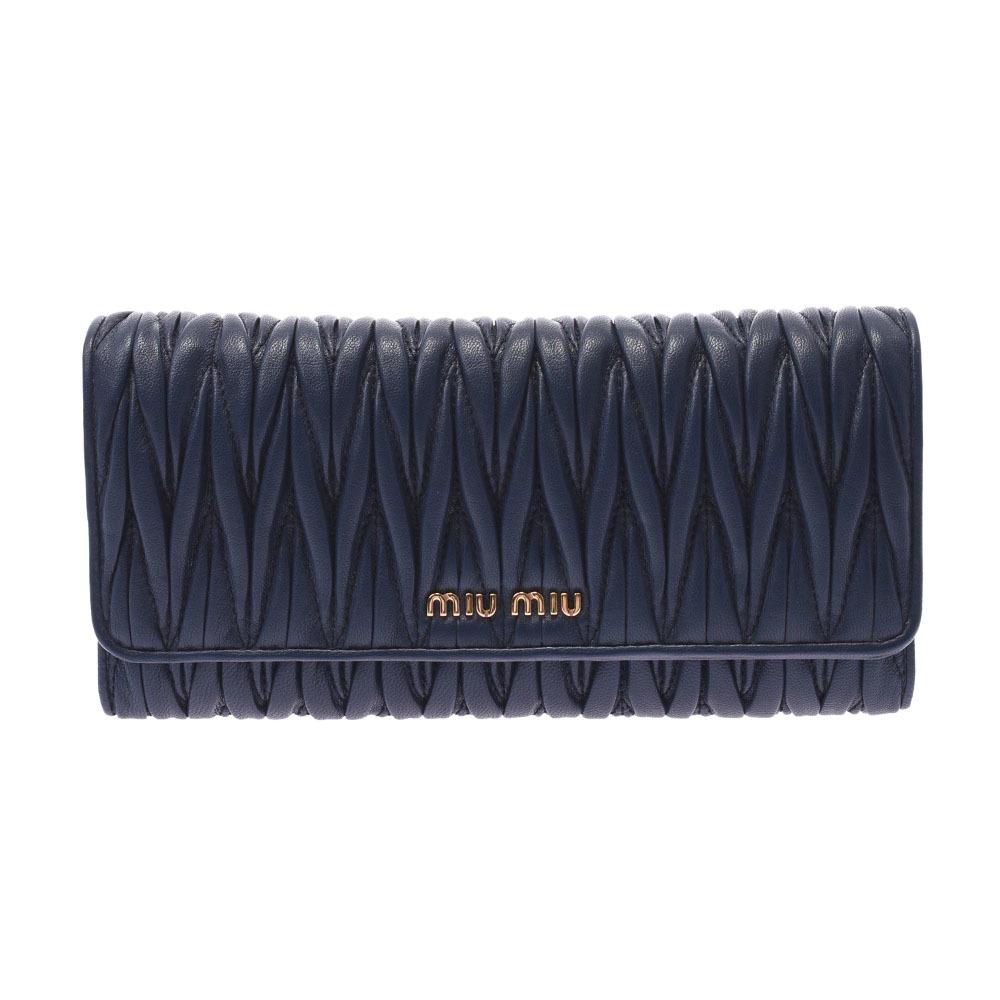 MIUMIU Miu Materasse Navy Gold Metal Fittings 5MH109 Ladies Lambskin Long Wallet Bi-Fold