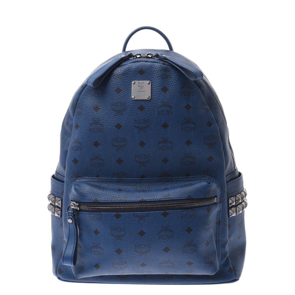 MCM Backpack Studs Blue Unisex Leather Daypack