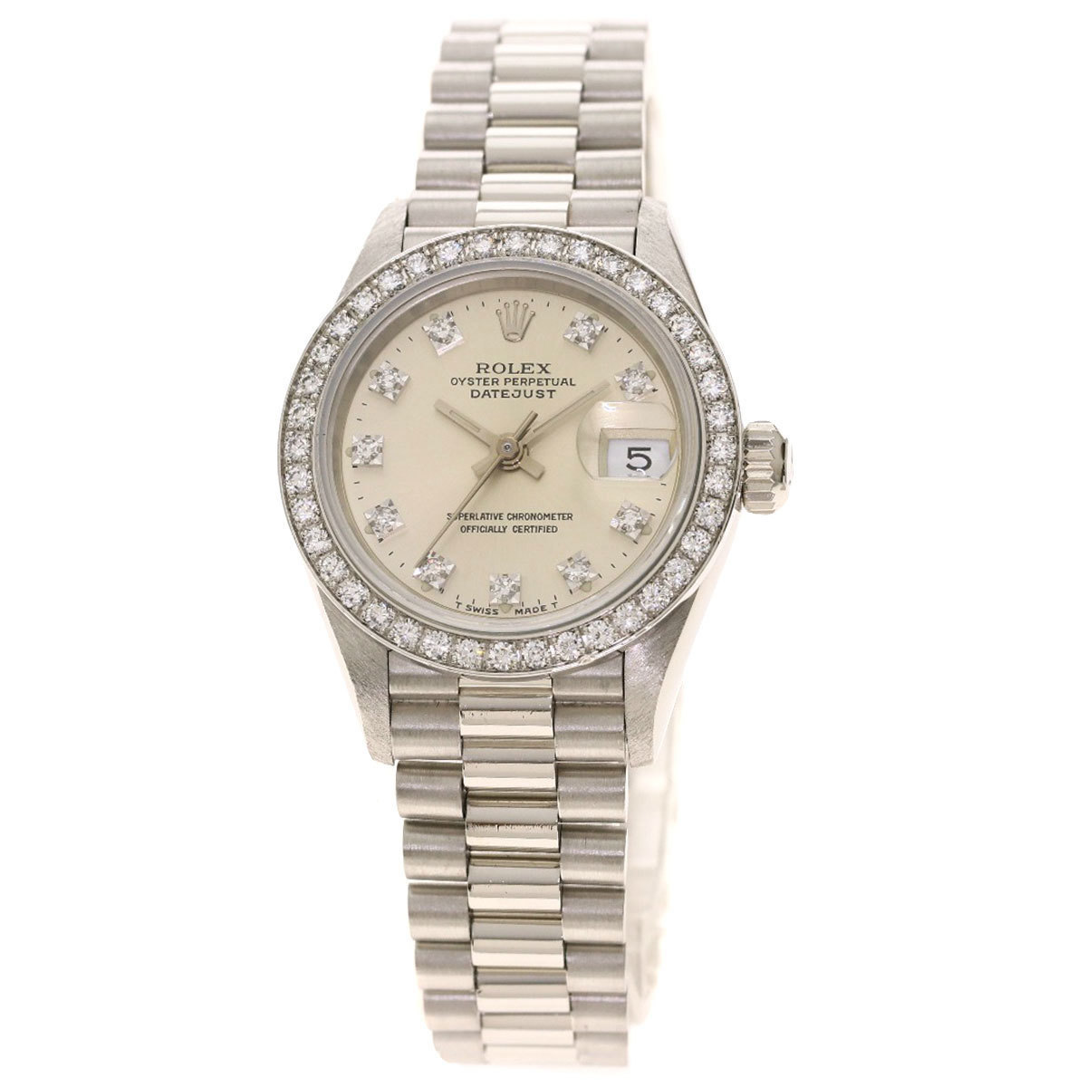 Rolex 69136G Datejust 10P Diamond Watch Platinum PT Ladies