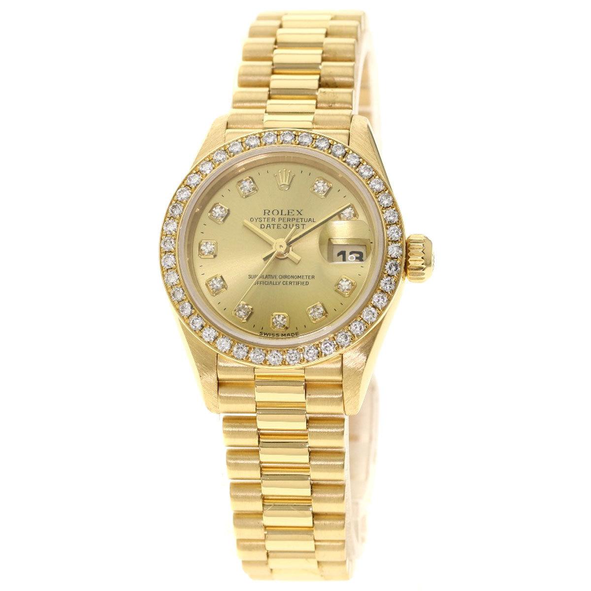 Rolex 79138G Datejust 10P Diamond Watch K18 Yellow Gold K18YG Ladies