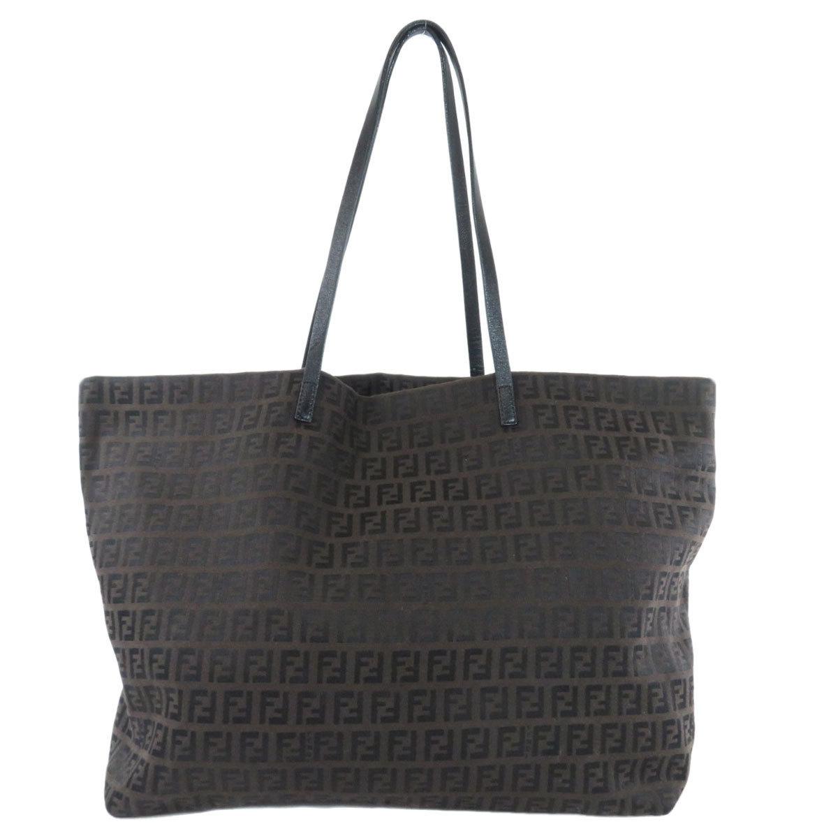 Fendi Zucchino Tote Bag Canvas Leather Ladies