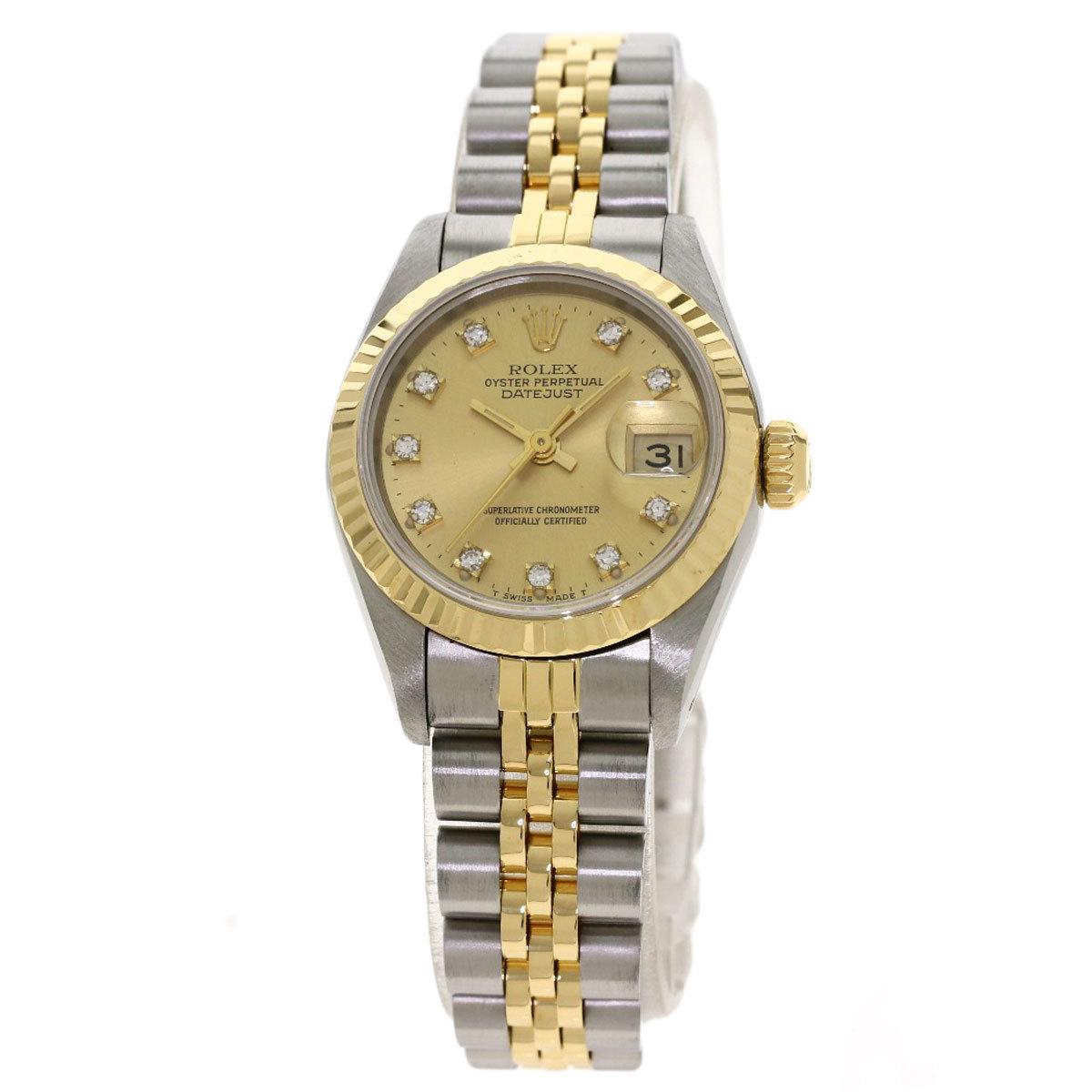 Rolex 69173G Datejust 10P Diamond Watch Stainless Steel K18YG Ladies