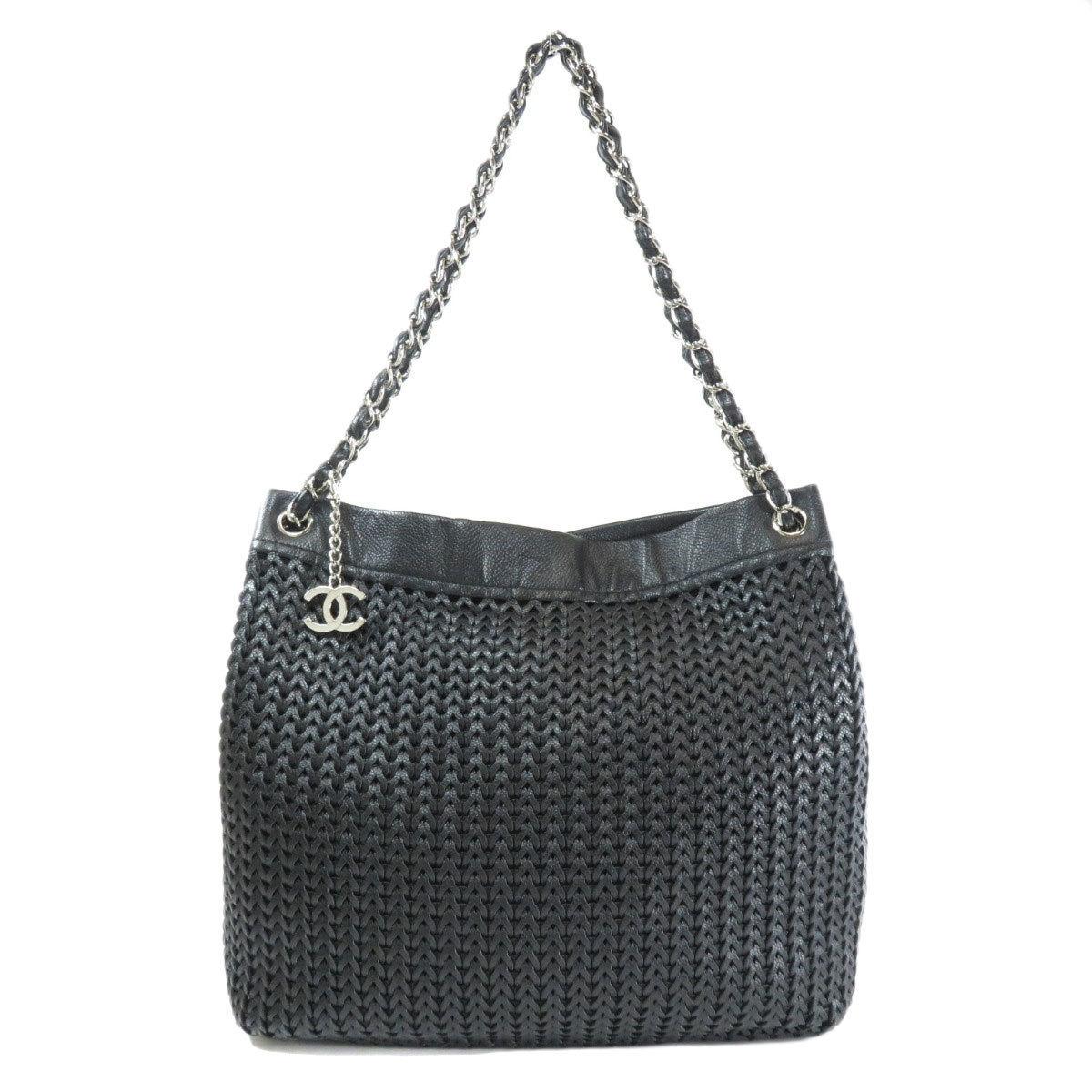 Chanel Chain Motif Coco Mark Tote Bag Calf Ladies