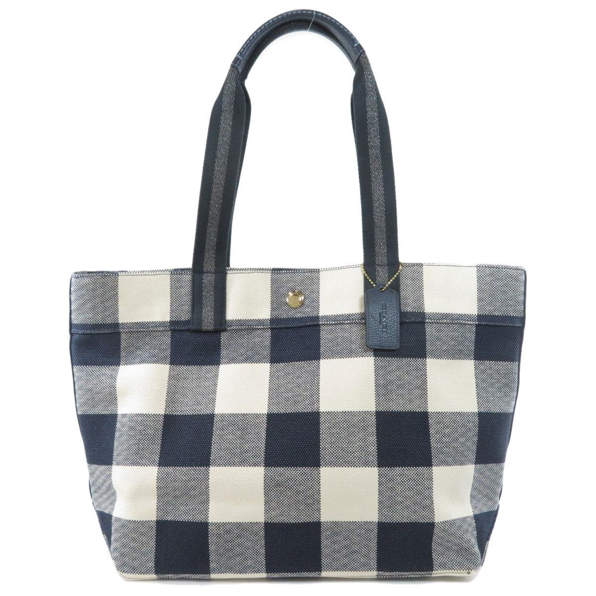 Coach F66867 Check Motif Tote Bag Canvas Ladies