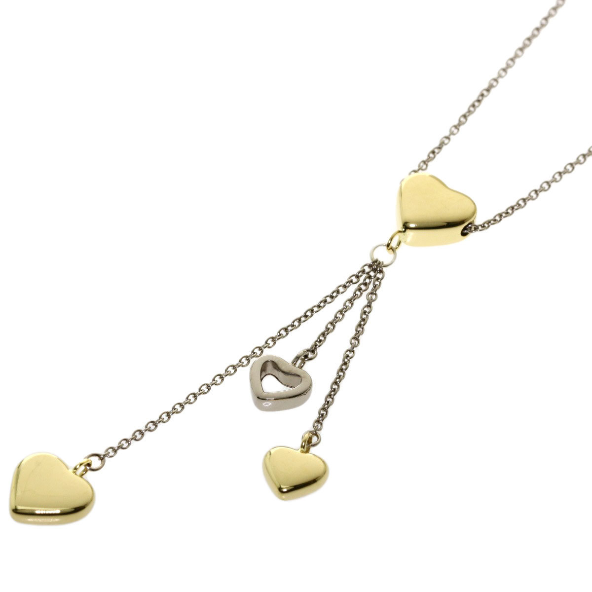 Tiffany Multi Heart Drop Necklace K18 Yellow Gold K18WG Ladies