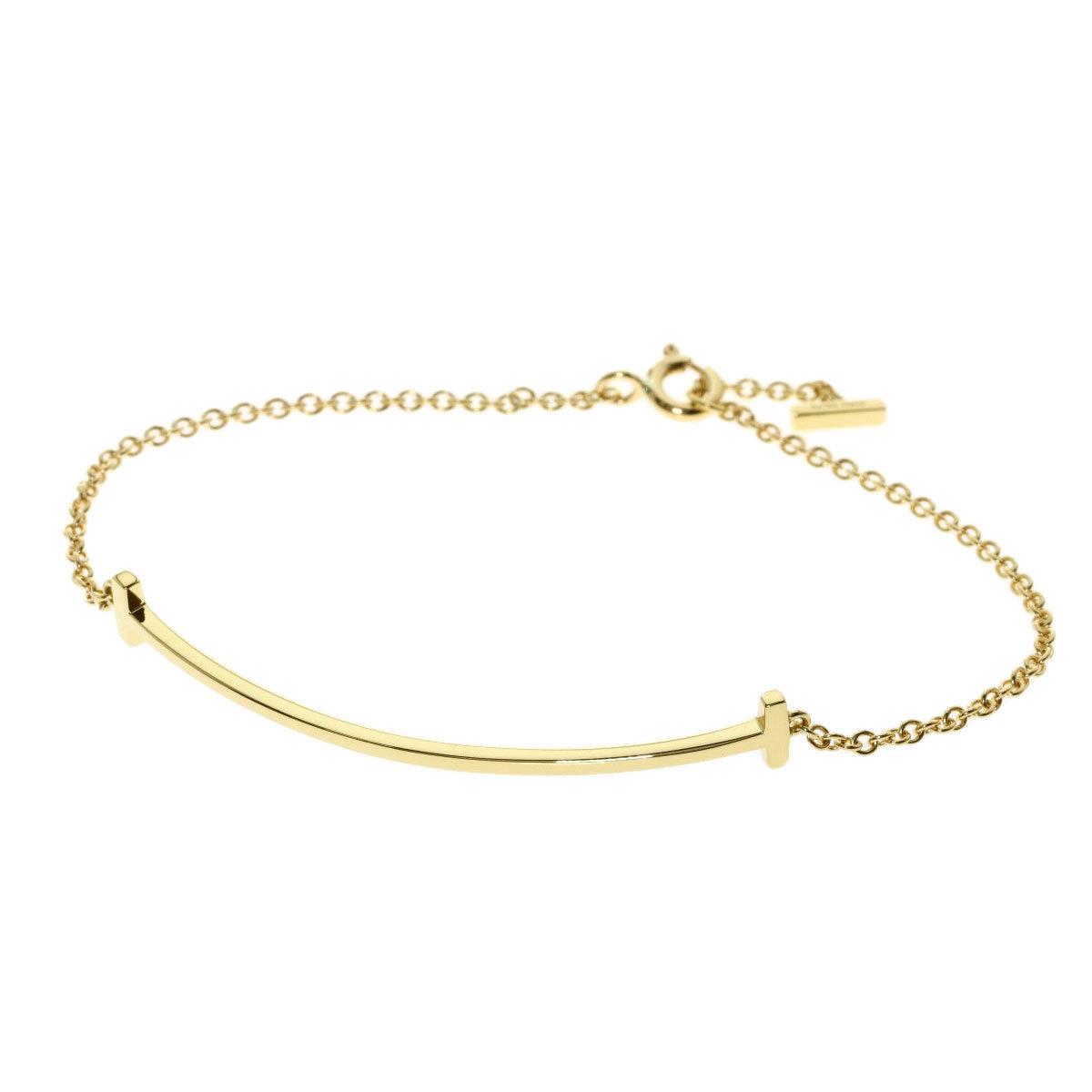 Tiffany T Smile Small Bracelet K18 Yellow Gold Ladies