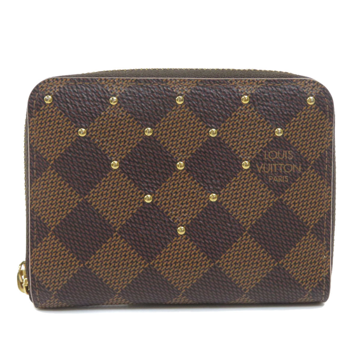 Louis Vuitton N60250 Zippy Coin Purse Studs Damier Ebene Case Canvas Ladies